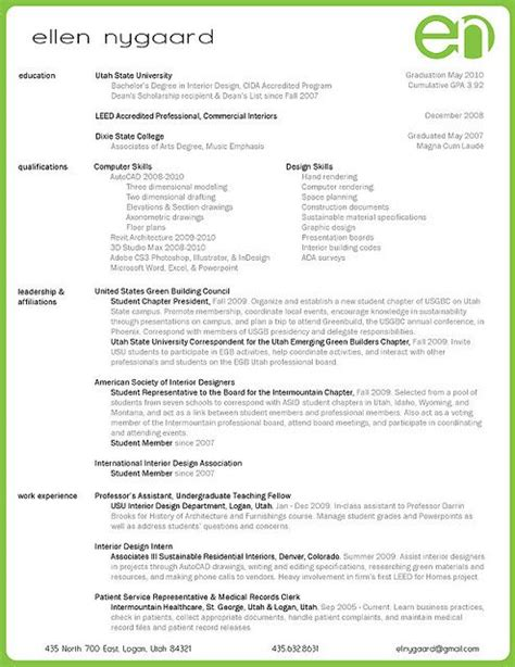 Interior Designer Resume by Interior Design Resume 2014 School Portfolio Ideas