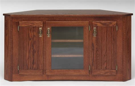 solid oak mission style corner tall tv stand w cabinet