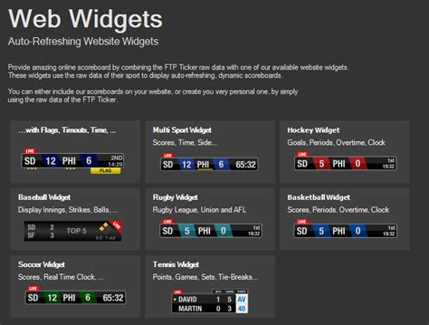 what website web widgets live score app