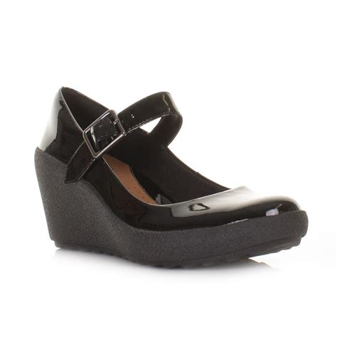 womens clarks flake berry black patent leather wedge heel