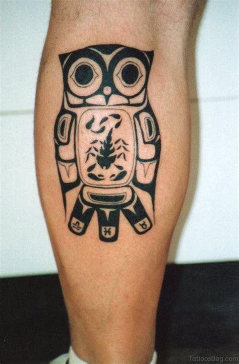 brown ink owl tattoo on leg 73 elegant owl tattoos on leg