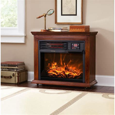 large room electric infrared fireplace heater wood mantel