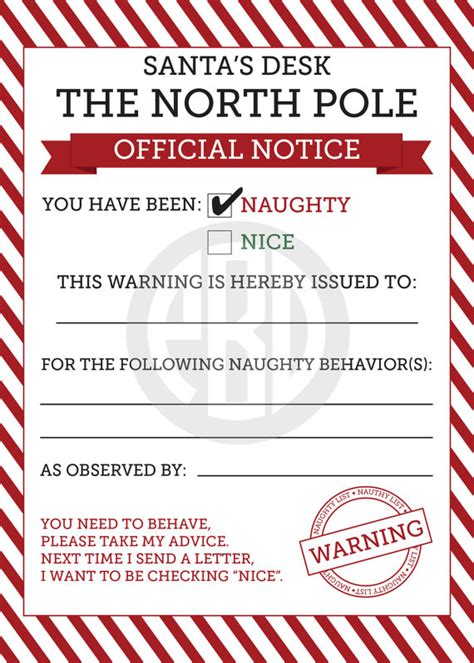 free printable elf on the shelf warning letter naughty or nice notices could see the elf giving steve a