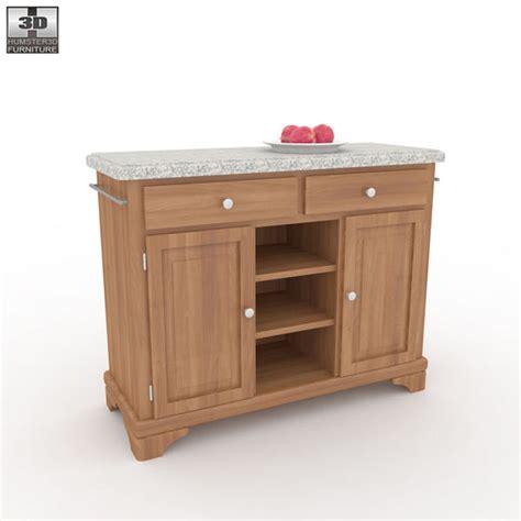 buffet with gray granite top in oak 3d model humster3d