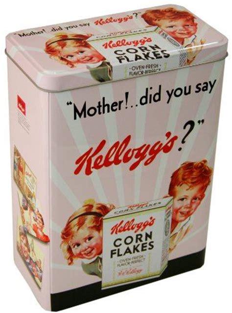 vintage storage tins kitchen retro corn flakes metal tin kelloggs vintage cereal cookie
