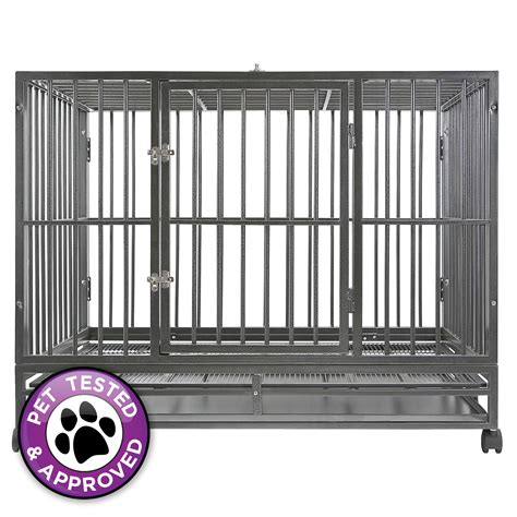 heavy duty dog house heavy duty rolling dog cage crate kennel house with metal pan ebay