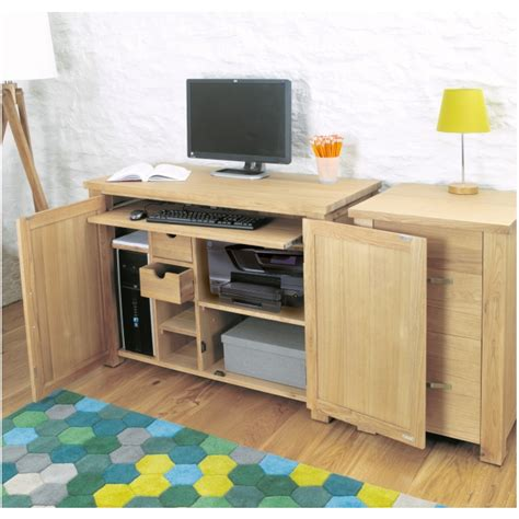 Laptop Hideaway Desk Aston Oak Contemporary Furniture Home Office Computer Hideaway Desk Ebay
