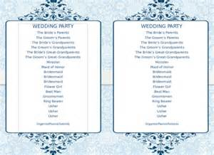 word program template 8 word wedding program templates free free