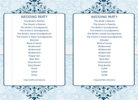 Word Program Templates by 8 Word Wedding Program Templates Free Free