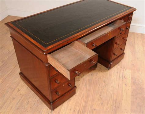 mahogany pedestal desk knee desks writing table