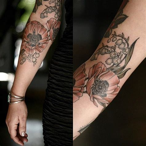 poppy and rose tattoo salmon pink poppies and of the valley for