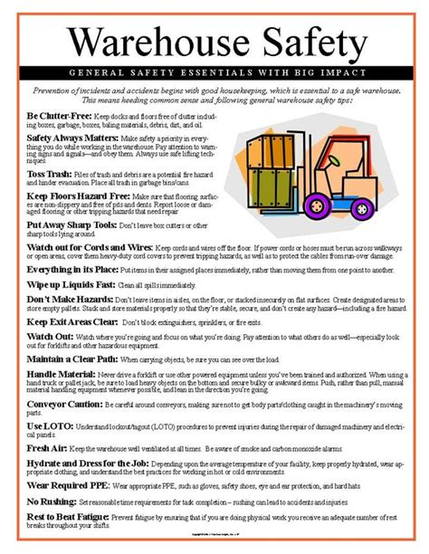 warehouse layout safety warehouse safety tips poster 157