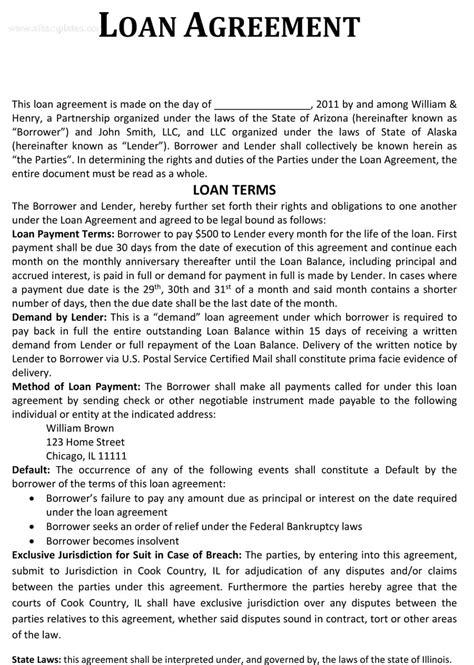 40 Free Loan Agreement Templates Word Pdf ᐅ Template Lab Loan Agreement Template