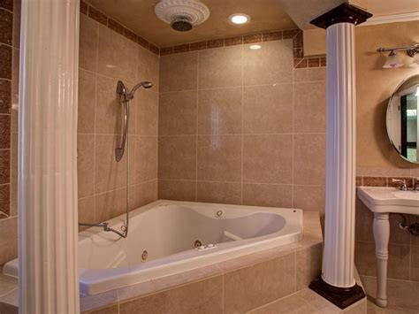 corner bathtub with shower traditional master bathroom with rain shower head crown