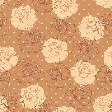 seamless retro floral vector pattern with beige and