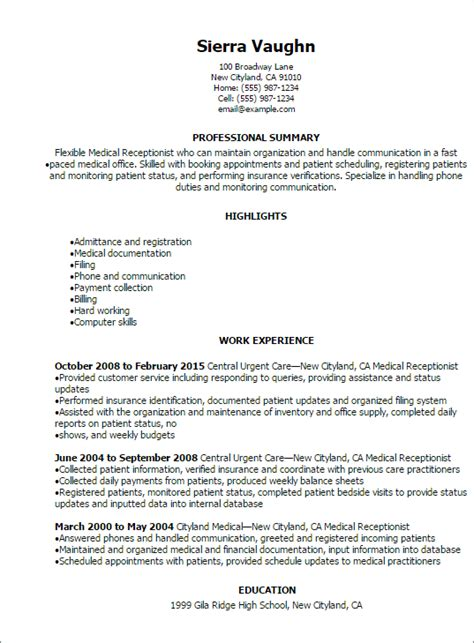 resume sle for receptionist professional receptionist resume templates to