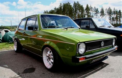 green volkswagen green volkswagen golf mk1 vw golf tuning