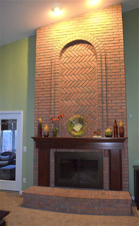 gorgeous floor to ceiling brick fireplace traditional