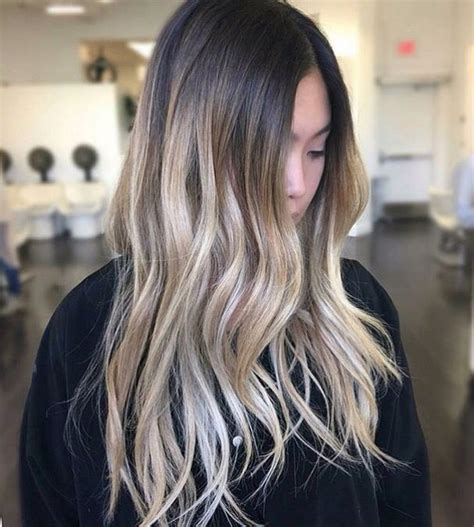 dark with blonde ombre pictures ash blonde balayage on dark brown hair