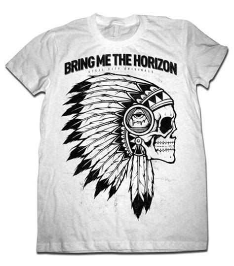 bring me the horizon indian skull white t shirt