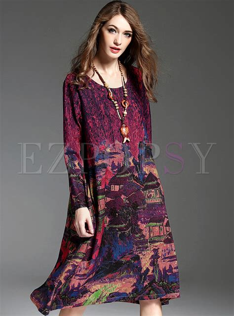Vintage Asymmetric Dress vintage print asymmetric shift dress ezpopsy