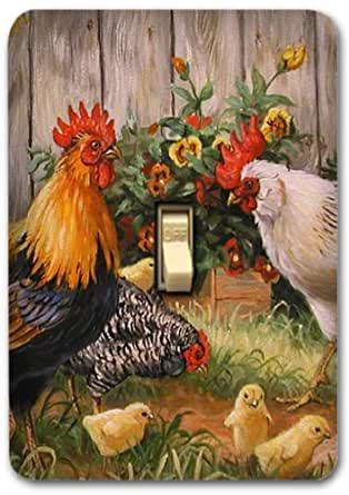 rooster farm animal country metal light switch plate cover