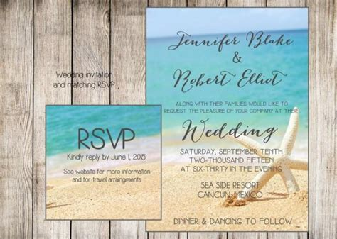 printable wedding invitations beach beach wedding invitation starfish and sand at the beach
