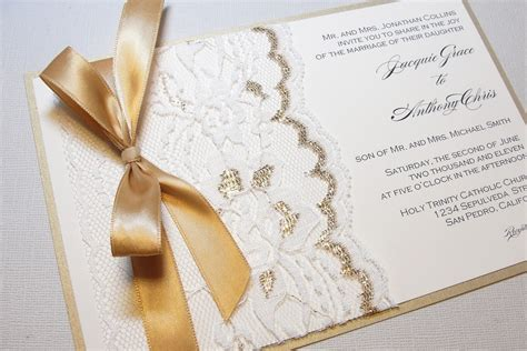 wedding invitations on etsy gilded wedding invitations etsy weddings stationery lace