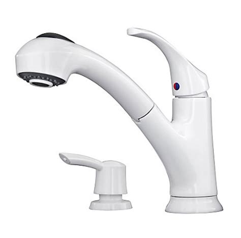white shelton 1 handle pull out kitchen faucet with soap