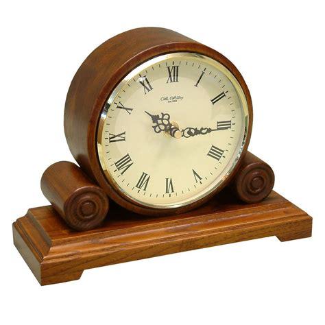 traditional light wooden quartz mantel desk clock