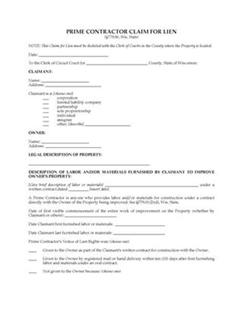 Letter Of Intent Subcontractor Sle Wisconsin Lien Forms Forms And Business Templates Megadox