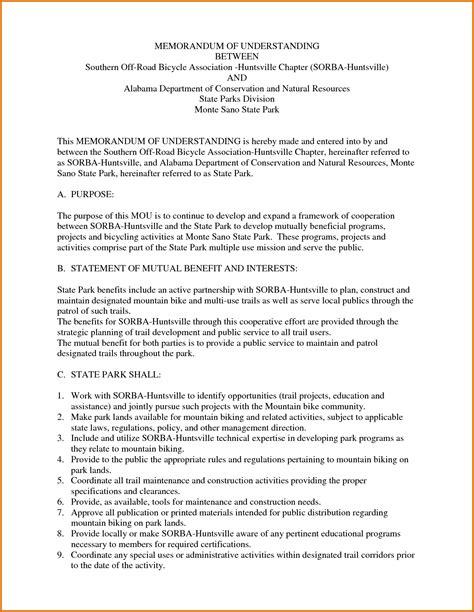 letter of understanding template memorandum of understanding templatereference letters