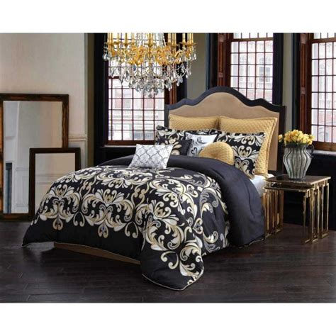 queen size bedding black 10 piece comforter set damask