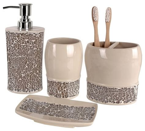 Broccostella 4 Piece Bath Accessory Set Contemporary Bathroom Accessories Sets
