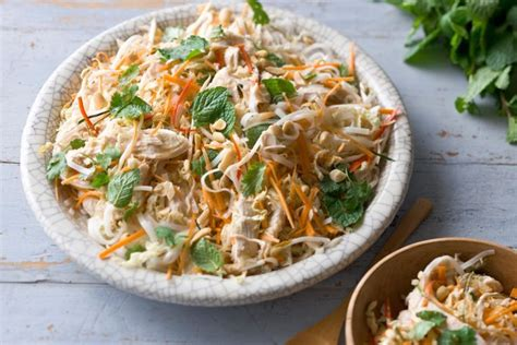 rice noodle salad vietnamese coconut poached chicken and rice noodle salad