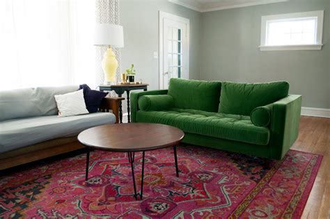 couch rug colorful living room refresh green couch and pink rug