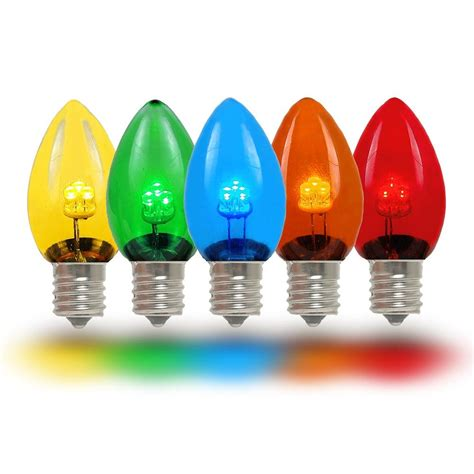Multi Colored LED C7 Glass Christmas Bulbs   Novelty Lights
