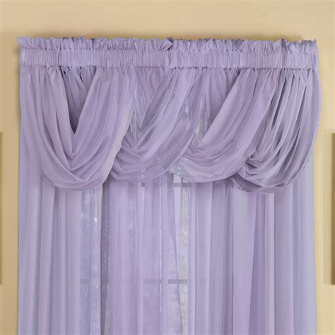 valance with sheer curtains sheer scoop valance curtains 2 pc by collections etc