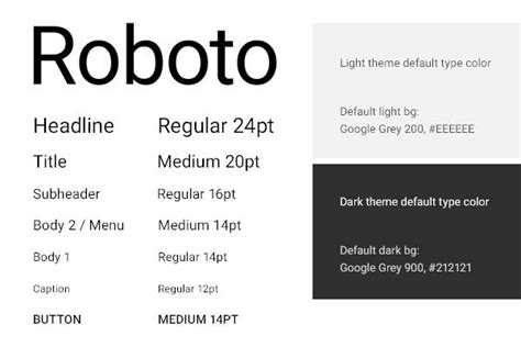 material design font roboto material design good web design from google