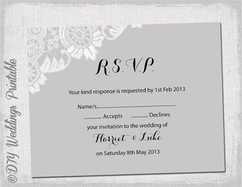 rsvp template wedding rsvp template diy silver by