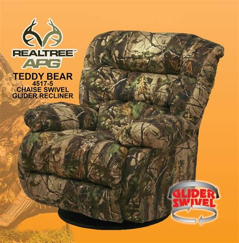 realtree camouflage recliner teddy bear apg green realtree camouflage chaise swivel