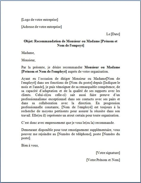 Courrier Demande Lettre De Recommandation Modele Lettre De Recommandation Employe Document