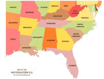 southeast map of the united states a map of the usa with state names new calendar template site