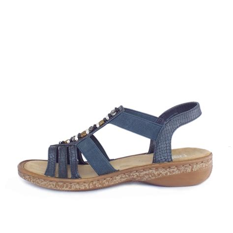 comfortable sandels rieker antistress horizon women s comfortable navy blue sandals