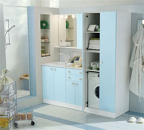 White And Colored Laundry Room Cabinets From Idea Group Blue Laundry