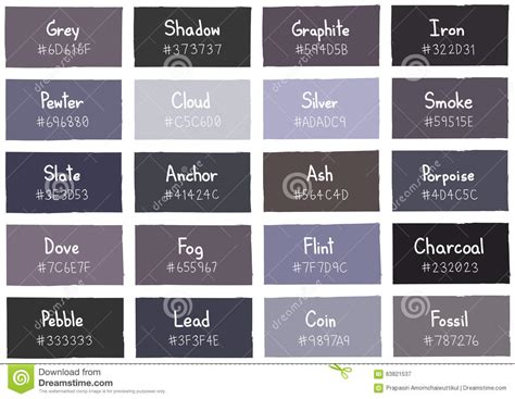 grey blue color name grey tone color shade background with code and name stock