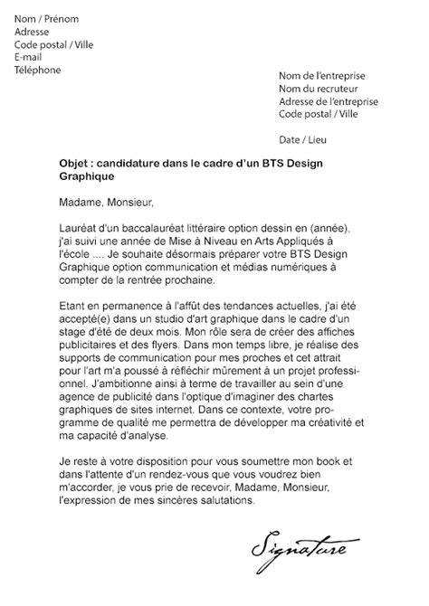 Lettre De Motivation De Graphiste Lettre De Motivation Bts Design Graphique Mod 232 Le De Lettre