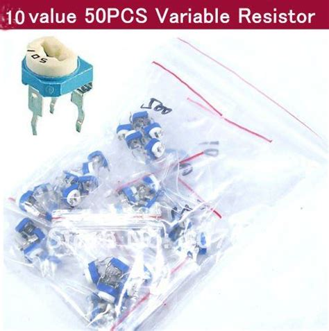 variable resistor assortment 10 value 50pcs 3pin trimmer trim pot variable resistor assortment kit in resistors from