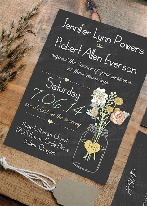 boho rustic wedding invitations jars chalkboard ewi369 as low as 0 94