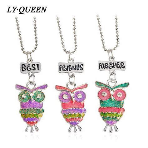 Aksesoris Kalung Set 4 In 1 Motif Anak Perempuan 3 pcs anak perempuan lucu hewan owl liontin sahabat selamanya kalung persahabatan kalung set bff